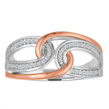 jcpenney.com | Womens 1/10 CT. T.W. White Diamond Sterling Silver Gold Over Silver Cocktail Ring