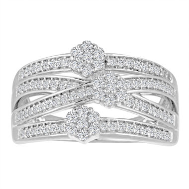 jcpenney.com | Diamond Blossom Womens 1/2 CT. T.W. White Diamond Sterling Silver Cocktail Ring