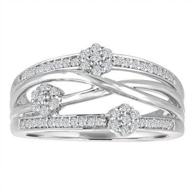 jcpenney.com | Diamond Blossom Womens 1/4 CT. T.W. White Diamond Sterling Silver Cocktail Ring