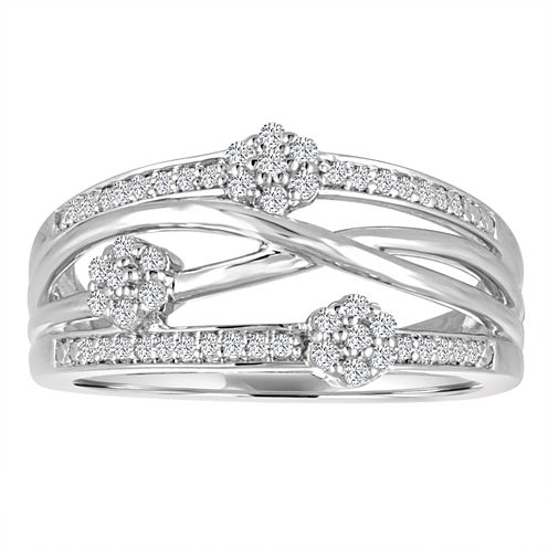 Diamond Blossom Womens 1/4 CT. T.W. White Diamond Sterling Silver Cocktail Ring