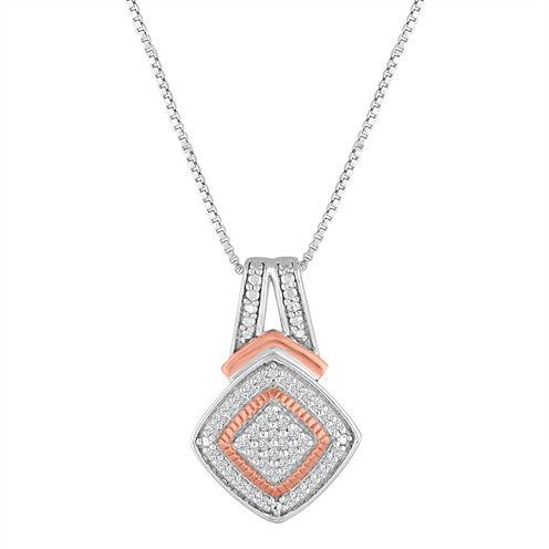 1/10 CT. T.W. White Diamond Gold Over Silver Pendant Necklace