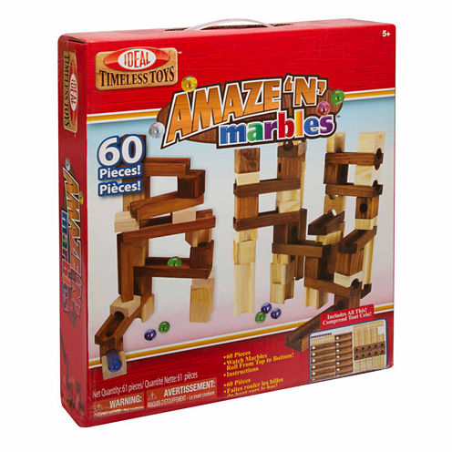 Ideal Amaze 'N' Marbles 60 Piece Classic Wood 60-pc. Interactive Toy