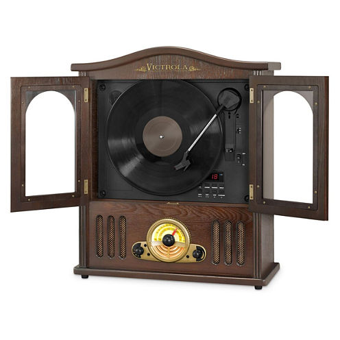 Victrola VTA-25 Wooden Wall-Mounted Nostalgic Record Player with Vertical Turntable, CD and Bluetooth