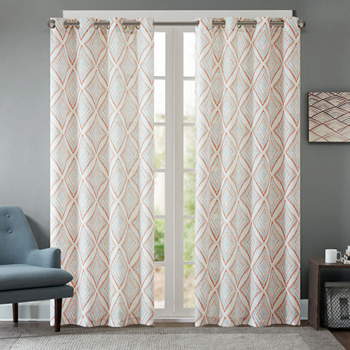 Bas Etched Grommet-Top Curtain Panel