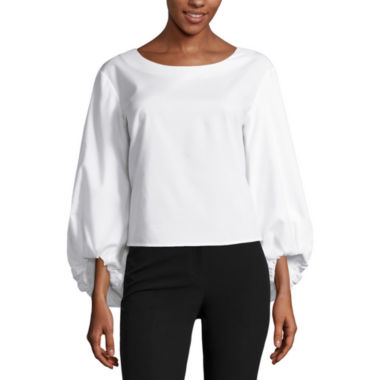 jcpenney.com | Worthington Long Sleeve Scoop Neck Woven Blouse