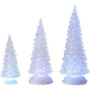 Set of 3 Tree Figurines with LED Lights