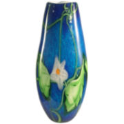 Dale Tiffany Flower Leaf Art Glass Vase