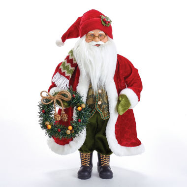 "jcpenney.com | Kurt Adler 18"" Fabric Mache Red Jacket Santa with Wreath"