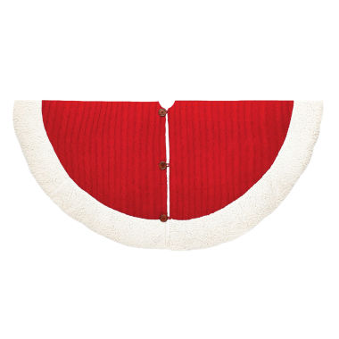 "jcpenney.com | Kurt Adler 48"" Red and White Cable Knit Treeskirt"