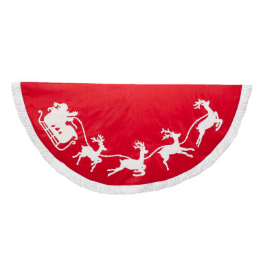"jcpenney.com | Kurt Adler 50"" Red and White Santa Sleigh Embroidered Treeskirt"
