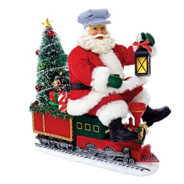 "jcpenney.com | Kurt Adler 9.5"" Fabriche Santa on Train with LED Tree"