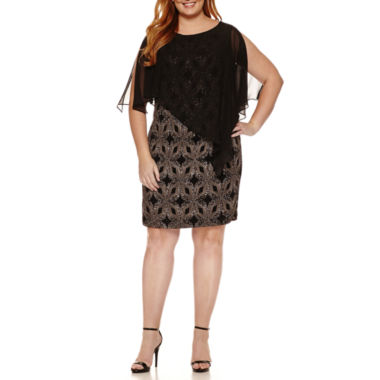 jcpenney.com | Scarlett Sleeveless Chiffon Overlay Lace Sheath Dress-Plus