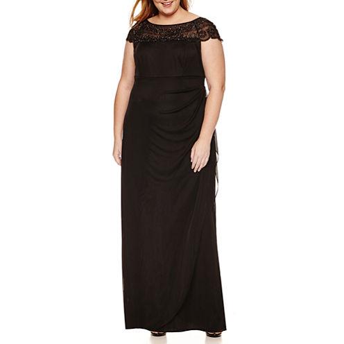 Msk Cap Sleeve Beaded Evening Gown-Plus
