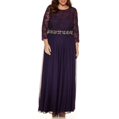 jcpenney.com | Jackie Jon 3/4 Sleeve Beaded Lace Evening Gown-Plus
