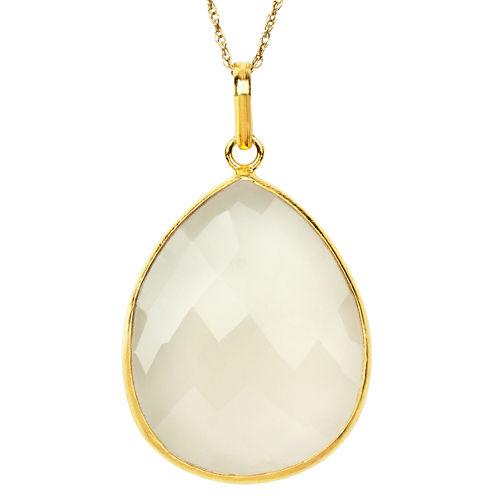 Womens White Quartz Gold Over Silver Pendant Necklace