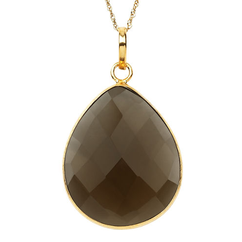 Womens Brown Quartz Gold Over Silver Pendant Necklace