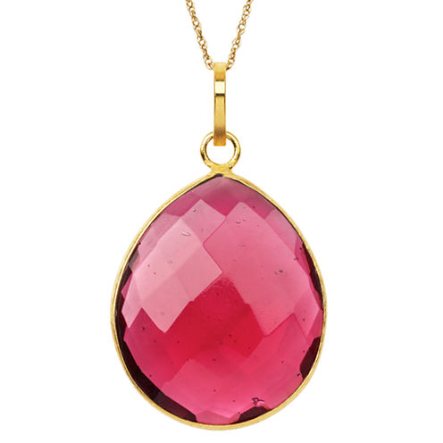 Womens Red Quartz Gold Over Silver Pendant Necklace
