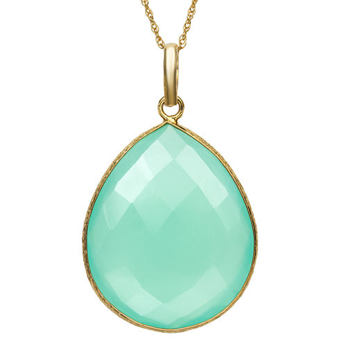 Womens Green Quartz Gold Over Silver Pendant Necklace