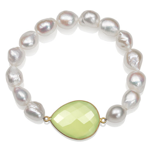 Womens White Pearl Gold Over Silver Beaded Bracelet