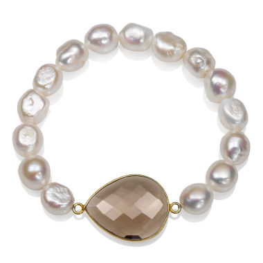 jcpenney.com | Womens White Pearl 14K Gold Over Silver Beaded Bracelet