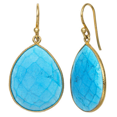 jcpenney.com | Blue Quartz 14K Gold Over Silver Drop Earrings