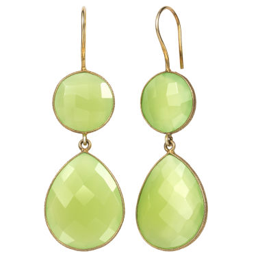 jcpenney.com | Green Quartz Gold Over Silver Drop Earrings
