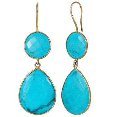 jcpenney.com | Blue Quartz Gold Over Silver Drop Earrings