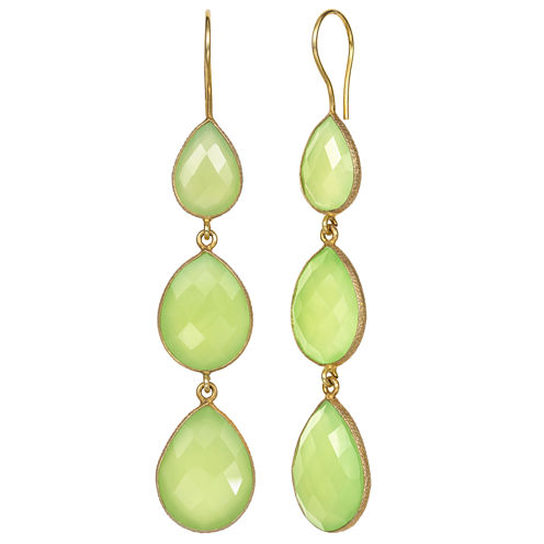 Green Quartz 14K Gold Over Silver Drop Earrings