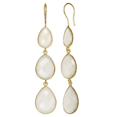 jcpenney.com | White Quartz 14K Gold Over Silver Drop Earrings