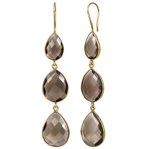 Brown Quartz 14K Gold Over Silver Drop Earrings