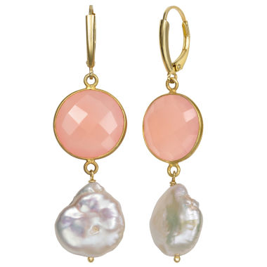 jcpenney.com | Pink Quartz 14K Gold Over Silver Drop Earrings