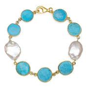 Womens 7.5 Inch Blue Quartz Gold Over Silver Link Bracelet