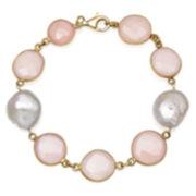 Womens 7.5 Inch Pink Quartz Gold Over Silver Link Bracelet