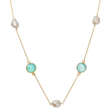 jcpenney.com | Womens White Pearl Gold Over Silver Strand Necklace