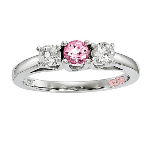 Survivor Collection Genuine Clear & Pink Swarovski Topaz Sterling Silver Pamela Ring