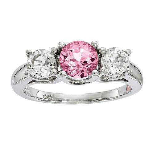 Survivor Collection Genuine Clear & Pink Swarovski Topaz Sterling Silver Pamela Ring