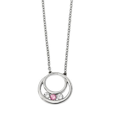 jcpenney.com | Sterling Silver Circle of Hope NecklaceSurvivor Collection Genuine Clear Pink Swarovski Topaz