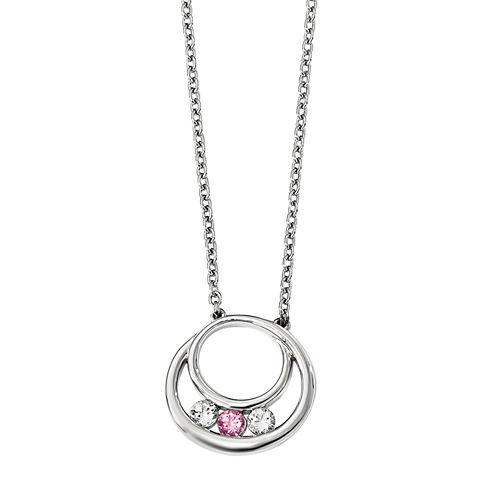 Sterling Silver Circle of Hope NecklaceSurvivor Collection Genuine Clear Pink Swarovski Topaz