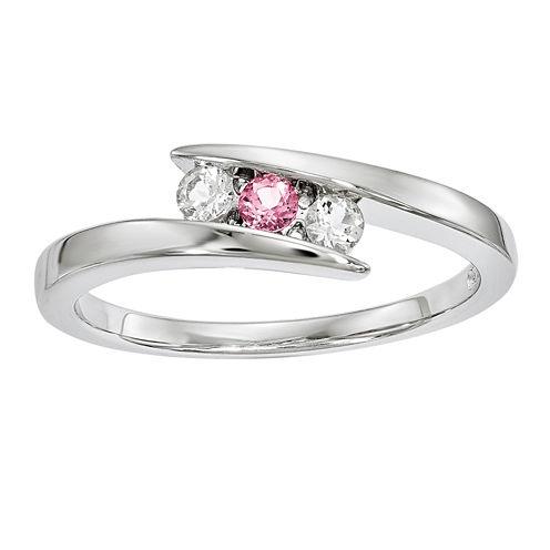 Survivor Collection Genuine Clear & Pink Swarovski Topaz Sterling Silver Circle of Strength Ring