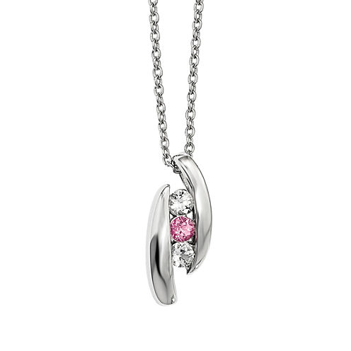 Survivor Collection Genuine Clear &Pink Swarovski Topaz Sterling Silver Pillar of Strength Necklace