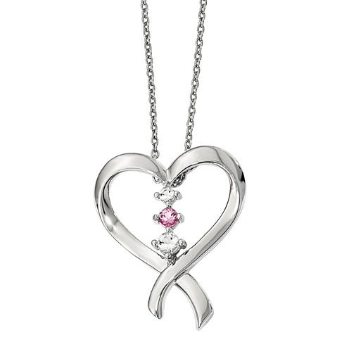 Survivor Collection Genuine Clear & Pink Swarovski Topaz Sterling Silver Tara Necklace