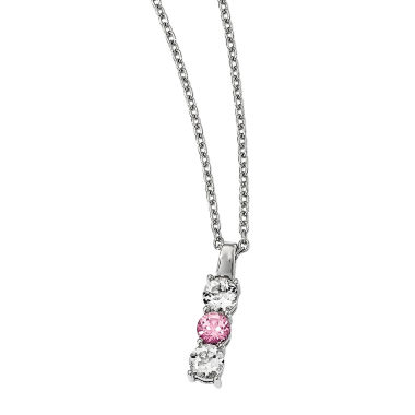 jcpenney.com | Survivor Collection Genuine Clear & Pink Swarovski Topaz Sterling Silver Drop of Courage Necklace