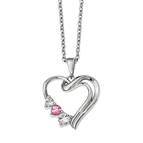 Survivor Collection Genuine Clear & Pink Swarovski Topaz Sterling Silver Heart of Healing Necklace