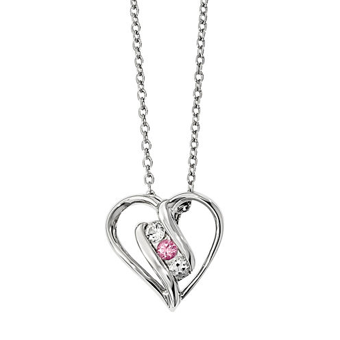 Survivor Collection Genuine Clear & Pink Swarovski Topaz Sterling Silver Heart of Support n Necklace