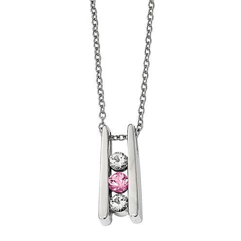 Survivor Collection Genuine Clear & Pink Swarovski Topaz Sterling Silver Grateful Necklace