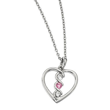 jcpenney.com | Survivor Collection Genuine Clear & Pink Swarovski Topaz Sterling Silver Heart of Inspiration Necklace