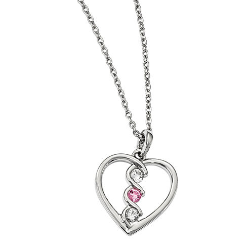 Survivor Collection Genuine Clear & Pink Swarovski Topaz Sterling Silver Heart of Inspiration Necklace