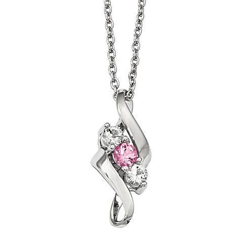 Survivor Collection Genuine Clear & Pink Swarovski Topaz Sterling Silver Cheri Necklace