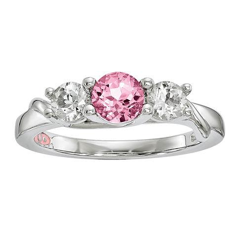 Survivor Collection Genuine Clear & Pink Swarovski Topaz Sterling Silver Joanna Ring