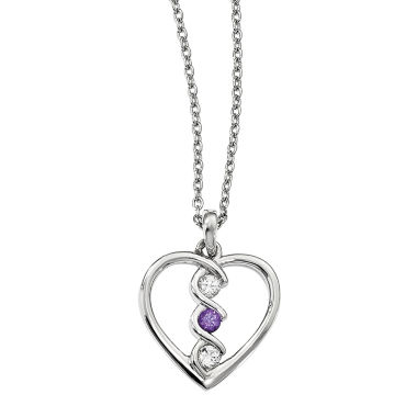 jcpenney.com | Survivor Collection Genuine Clear & Purple Swarovski Topaz Sterling Silver Heart of Inspiration Necklace